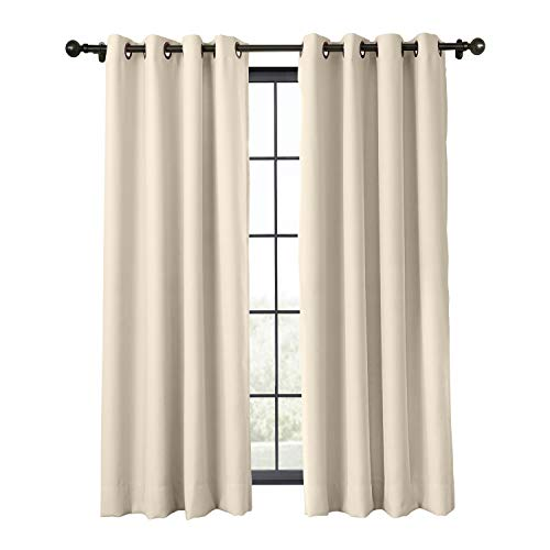 ChadMade Flame Retardant Curtain Antique Bronze Grommet Eyelet Beige 52W x 84L Inch Thermal Insulated Blackout (1 Panel) Exclusive