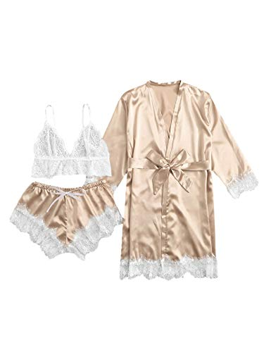 SOLY HUX Women's Sleepwear Floral Lace Trim Satin Cami Pajama Set with Robe Gold Large