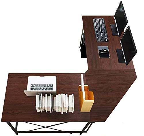 sogesfurniture Computertisch Eckschreibtisch in L-Form, großer Gaming Schreibtisch PC Tisch Winkelkombination Arbeitstisch Bürotisch, (150+150)*55 * 76 cm, Walnuß LD-Z01WA-BH
