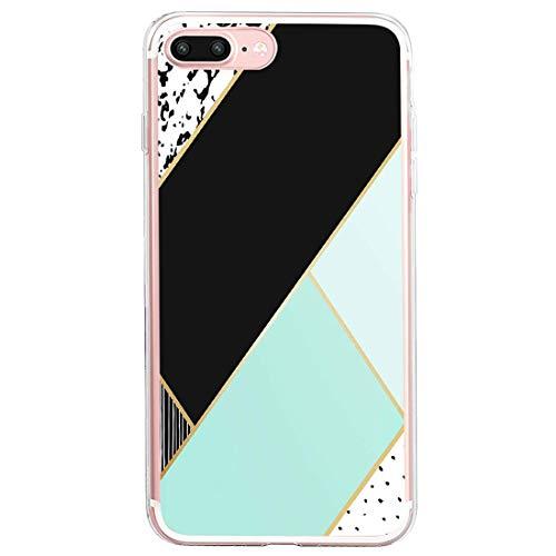 Coque de protection compatible avec iPhone 7 Plus - Ultra fine - Souple - En silicone TPU - Avec motif marbre - Anti-chocs - Jaune - Pour iPhone 7 Plus - Multicolore - Taille Unique