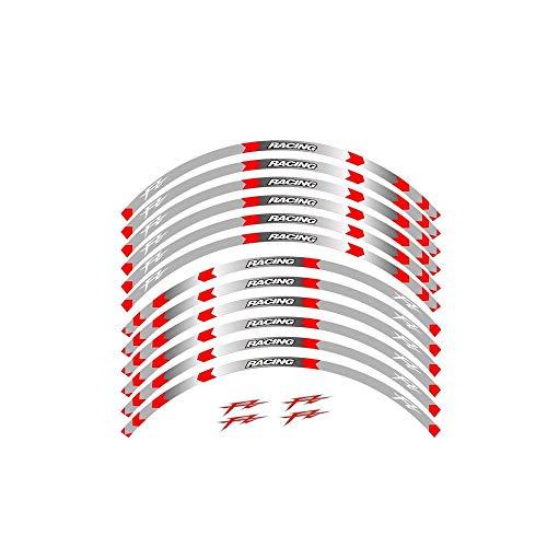 8 estilo de la motocicleta neumático de la rueda de 17 pulgadas ruedas Rim pegatinas for Yamaha FZ1 FZ6 FZ-07 FZ8 FZ-09-FZ 10 FZS1000 FAZER pegatinas moto (Color : B Red)
