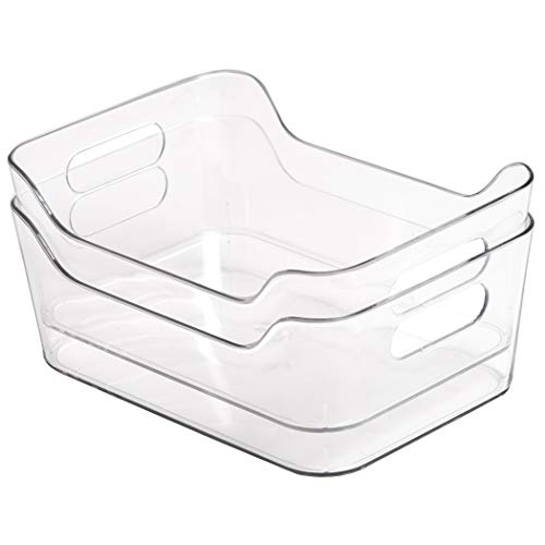 BINO Clear Plastic Storage Bin with Handles 2 Pack - X-Small - Plastic Storage Bins for Kitchen Cabinet and Pantry Organization and Storage - Home Organizers and Storage
