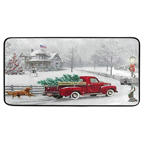 Vdsrup Winter Christmas Truck Snowflakes Red Kitchen Rugs Xmas Fir Tree Snow Dog Kitchen Mat Bath Rug Floor Door Mats Non Slip Doormat Soft Runner Carpet Home Decor 39 X 20 Inch
