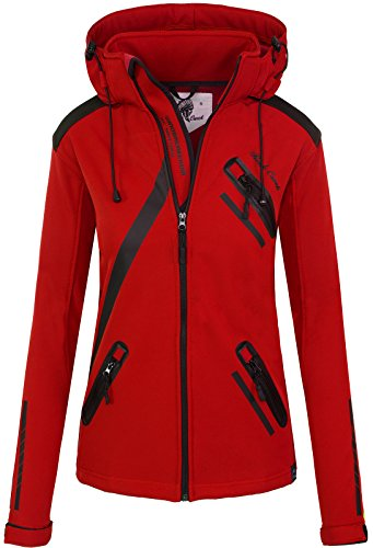 Rock Creek Damen Softshell Jacke Übergangs Jacke Windbreaker Regenjacke Damenjacken Outdoorjacke Windjacke D-371 Rot M