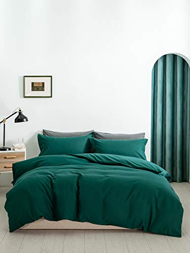 Ropa de cama verde oscuro, 135 x 200 cm, microfibra, monocolor, gris, verde, juego de cama de 2 piezas, funda nórdica de 135 x 200 cm + 80 x 80 cm, funda de edredón moderna, cama doble