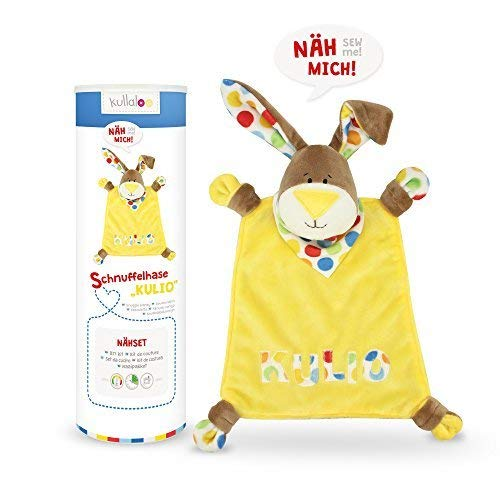 kullaloo-Nähset/Stoffpaket zum Selber Nähen: Schnuffeltuch Hase Kulio Braun in Schicker Dose (DE/EN) Materialset, Minky, Gelb, 10,5 x 10,5 x 31 cm