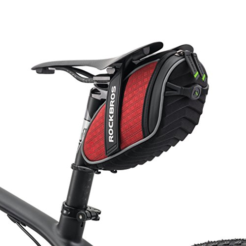 ROCKBROS Borsa Sella Bici Borsa da Sella Sottosella per Bicicletta MTB Bici da Corsa 1L Catarifrangente Ultraleggera (Rosso)