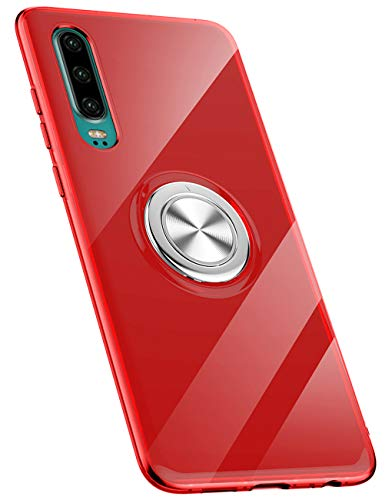 Hülle kompatibel mit Huawei P30/P30 Pro/P30 Lite,Ultra Dünn Clear Transparente TPU + PC Handyhülle Mit 360 ° Verdrehbare Ring,und Kickstand mit Magnet auf Backcover Schutzhülle (Huawei P30 Pro, 1)