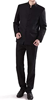 Chinese Tunic Suits Mandarin Collar Formal Black Suit Slim Fit Front Button Japanese School Uniform Groom Dress