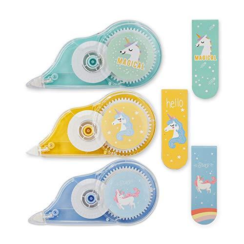 Starplast Pack de 3 Cintas Correctoras, Tipp-Ex + Imán Marcapáginas Diseño Unicornio, 12mx5mm, para Borrar, Corregir, etc, Verde, Azul y Amarillo.