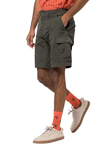 Jack Wolfskin Canyon Cargo - Pantaloncini da Trekking da Uomo, Uomo, Pantaloni Corti da Trekking ad Asciugatura Rapida, 1504201-5100050, Muschio Scuro, 50