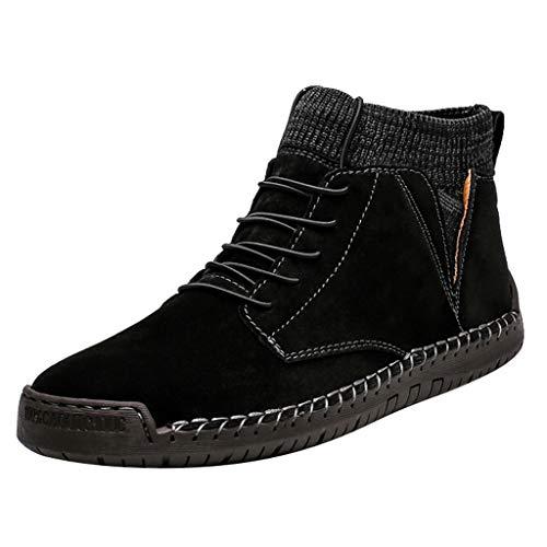 Herren Herbst Winter Plüsch Plus Warm Indoor Outdoor Casual High Top Socken Retro Combat Boots Comfy Boots Comfy Lightweight Round Toe Shoes 40 Schwarz