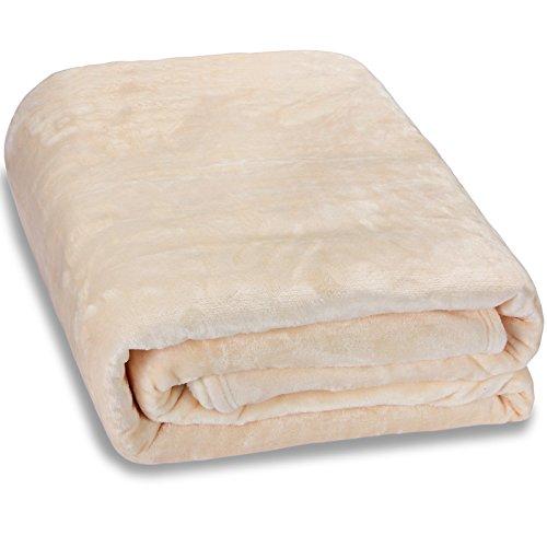 Deuba Premium XXL Kuscheldecke Wohndecke 280 x 210 cm groß flauschig weich warm Tagesdecke Sofadecke Couchdecke - Beige