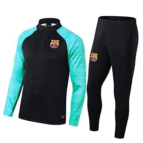 BHJH Traje de Entrenamiento de fútbol de Barcelona, fanáticos de fútbol de fútbol Media Cremallera Media, Ropa Deportiva Uniformes + Pantalones 2 Piezas, Negro XL