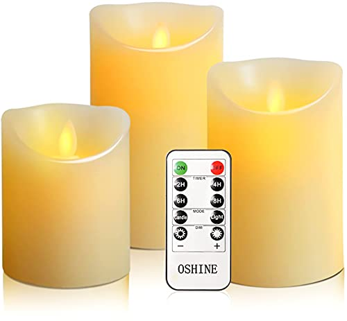 """OSHINE flameless Candles, flameless Candlestick, flameless Battery Candles, Battery Remote Control Candles, LED Candles 3 Piece Set 4""""5""""6""""H (3.15""""D) Flash Flame with Remote Control and timed True Wax"""