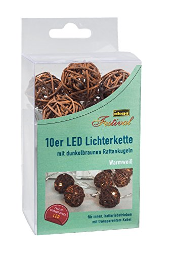 Idena 10035007 - Rattanball Lichterkette mit 10 warmweißen LEDs, für Innen, batteriebetrieben, braun