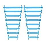Newkeen No Tie Silikon Schnürsenkel für Kinder und Erwachsene - Wasserdichte Silikon flache elastische Sportlauf Schnürsenkel mit Multicolor für Sneaker Stiefel Brettschuhe (Blue)