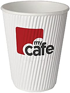 MyCafe Ripple Wall Hot Cups, White, 8 oz, Pack of 501