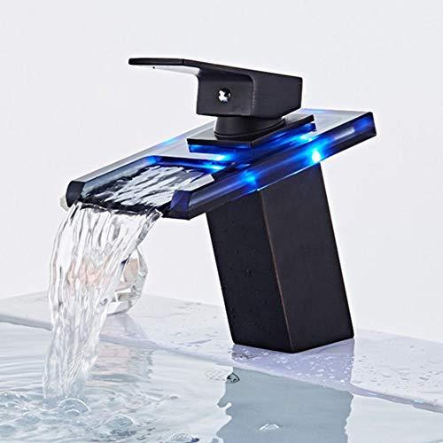 JRUIA Grifo monomando para lavabo, efecto cascada, LED, RGB, 3 colores, con...