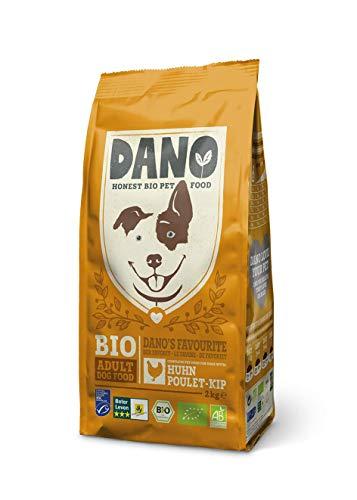 DANO Bio-Trockenfutter für Hunde - Leckerli mit Bio-Huhn, MSC-Fisch, Bio-Erbsen & Baobab - Für mittelgroße bis große Hunde - Gesunde Ernährung Vollnahrung für Erwachsene Hunde - 2kg