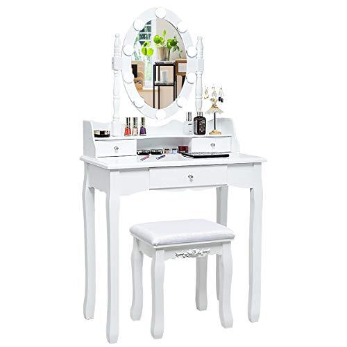 COSTWAY Schminktisch mit Hocker, 360° drehbarem Spiegel und verstellbare LED Beleuchtung, Frisiertisch aus Tisch und Abnehmbarer Oberteil, Kosmetiktisch mit 3 Schubladen, 75 x 40 x 143,5 cm (Weiß)