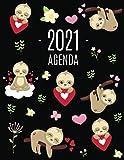 Perezoso Agenda 2021: Planificador Diaria | Ideal Para la Escuela, el Estudio y la Oficina | Enero a Diciembre 2021
