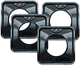 4 Pack | Style I 7.75 Inch Square, Heavy Duty Black Porcelain Drip Pans by Range Kleen