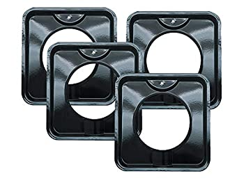 4 Pack   Style I 7.75 Inch Square Heavy Duty Black Porcelain Drip Pans by Range Kleen