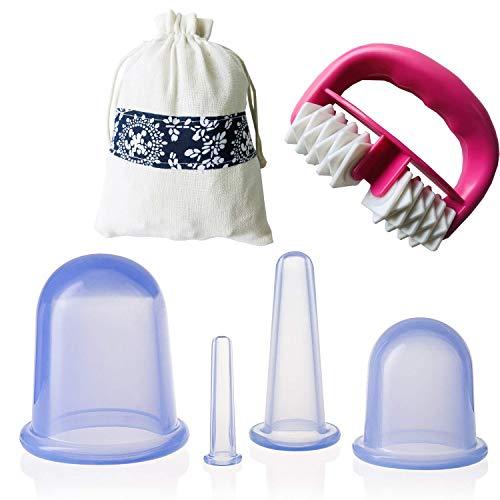 IAMXXYO 5Pcs Anti-Cellulite Cup Set Silicone Emboutissage Thérapie Visage Vide Emboutissage Corps Coupe Massage Rouleau pour Drainage Lymphatique Et Soins De Santé,Bleu