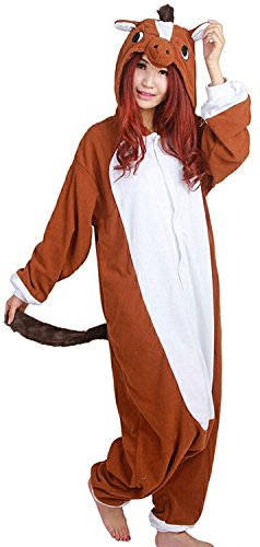 Adult Onesie Animal Brown Horse Cosplay Halloween Costume One Piece Soft Pyjamas Brown