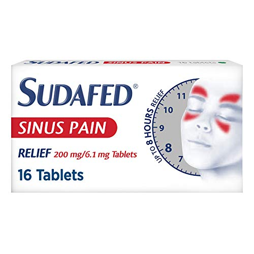 Sudafed Sinus Pain Relief Tablets, Long Lasting Relief of Sinus Symptoms, Pack of 16