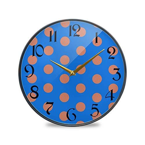 ART VVIES Reloj de Pared Redondo de 12 Pulgadas Que no Hace tictac silencioso operado por batería Oficina Cocina Dormitorio Decoración para el hogar-Red Polk A Dots