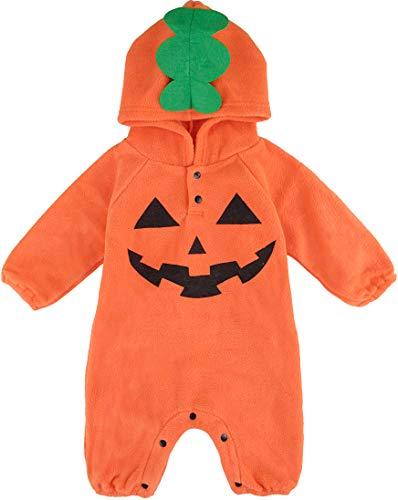 MOMBEBE COSLAND Mono Bebé Niño Halloween Calabaza Capucha Manga Larga (Calabaza 2, 0-6 Meses)