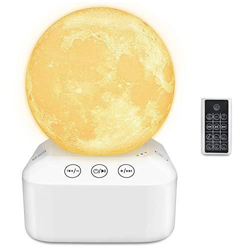 White Noise Machine, Achort Sleep Sound Therapy con 10 suoni rilassanti, ecoscandaglio USB portatile con 7 modalità luce, luminosità continua, telecomando per bambino/bambini/adulti