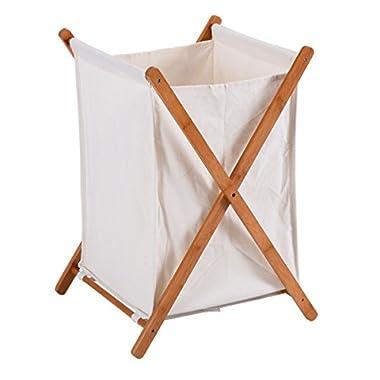 Moon_Daughter Household Folding Bamboo X-Frame Laundry Hamper Clothes Storage Basket Bin Bathroom Bag 22Lbs Load