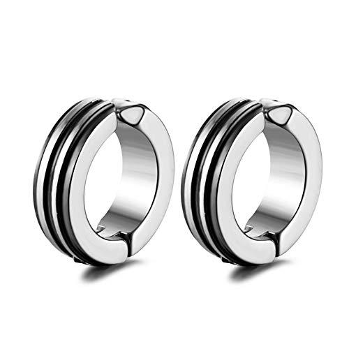 ZRDMN - Pendientes de acero inoxidable para hombre, diseño de marea negra, hipoalergénicos, de titanio y acero
