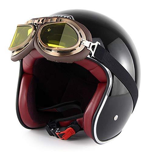 GXYS Casco Jet Moto 3/4 Mezzo Casco Casco retrò Harley con Occhiali Certificato DOT Cruiser Chopper Skateboard Ciclomotore Casco Jet Pilota Casco Aperto Adulto Casco Anticollisione,F-M=(57~58cm)