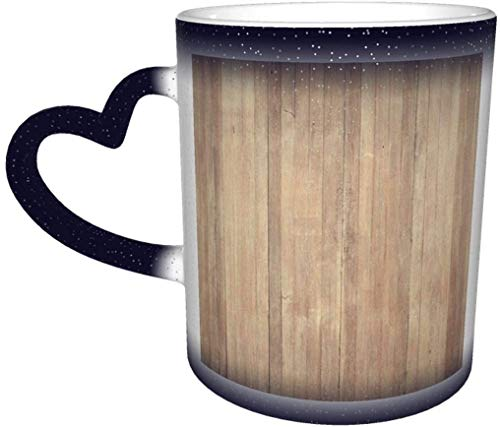 Taza de café Piso de madera Tablero de fondo Carpintería marrón DMagic Taza sensible al calor que cambia de color en el cielo Taza de cerámica Taza de café Regalo de cumpleaños de