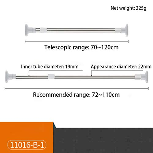 Telescopic Rod, Punch-free, Perforated, Stainless Steel, Various Sizes, Installation Of Clothes Rail, Toilet, Shower Curtain Rod, Curtain Rod, Bedroom, Wardrobe, Kitchen, Balcony ( Size : 70-120cm )
