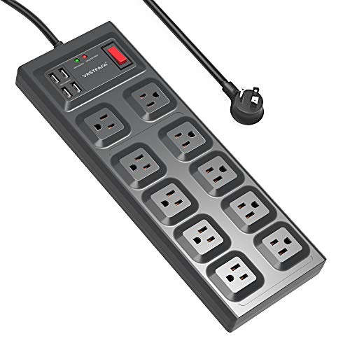 Power Strip with USB, VASTFAFA Surge Protector with 10 AC Outlets and 4 USB Charging Ports,1875W/15A, 1700 Joules, 4.5 Feet Long Extension Cord for Smartphone Tablets Home,Office, Hotel- Black