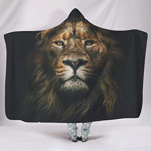 JONINOT Manta Siesta Felpa Sofás Hooded Genial Rey León de los Animales W102cmXL127cm Buen sueño