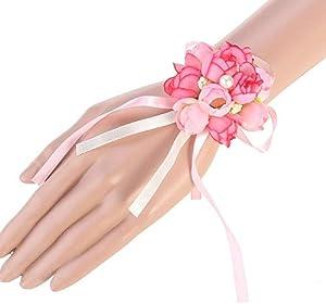 MCYY Wrist flower Wedding Bride Maid Wrist flower Pearl Bracelet Art Flower Wristband Pink