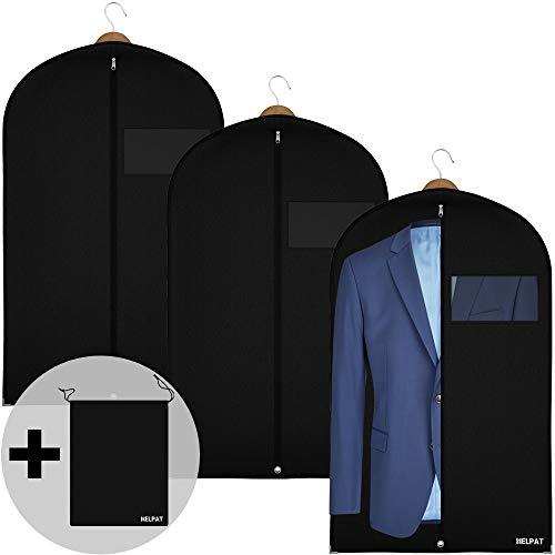 HELPAT 3X robuster Kleidersack inkl. Schuhbeutel – 100 x 60 cm – Premium Kleiderhülle aus atmungsaktivem Stoff – Große Kleidertasche, optimal zur Kleideraufbewahrung – Praktisches Set für unterwegs