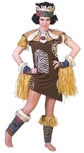 Fu501142-40-42-A - Disfraz afro indio para mujer (talla 40-42), color marrn