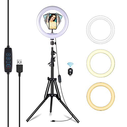 EVAYLIOX LED Ring Light Alta 10.2 Pollici Luce ad Anello Telefono di 3 Colori 11 Luminosità Dimmerabile Anello Luminoso con 1.6M Treppiede Telecomando per Tik Tok Foto Selfie Youtube Trucco Video
