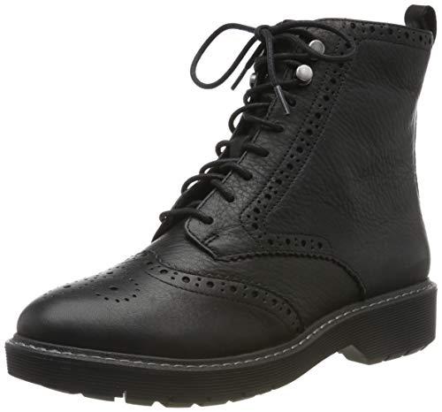 Clarks Witcombe FLO, Botines Mujer, Negro (Black Leather Black Leather), 42 EU