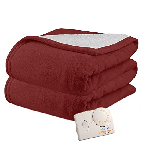 Pure Warmth MicroPlush Sherpa Electric Heated Blanket Twin Claret