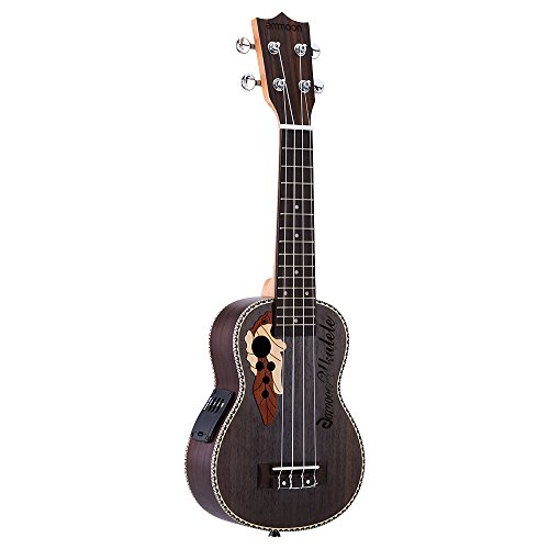 ammoon Abete 21 'Acoustic Ukulele 15 Fret 4 Stringhe Corde Strumento Musicale con Built-in EQ Pickup