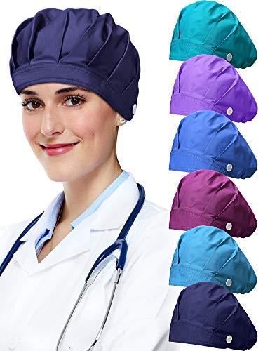 Geyoga 6 Pieces Adjustable Bouffant Caps Multicolor Cotton Sweatband Caps with Button Breathable Bouffant Turban Hats for Women Men