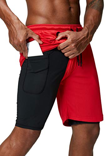 Pinkbomb Men's 2 in 1 Running Shorts Gym Workout Quick Dry Mens Shorts with Phone Pocket (Red, XX-Large)